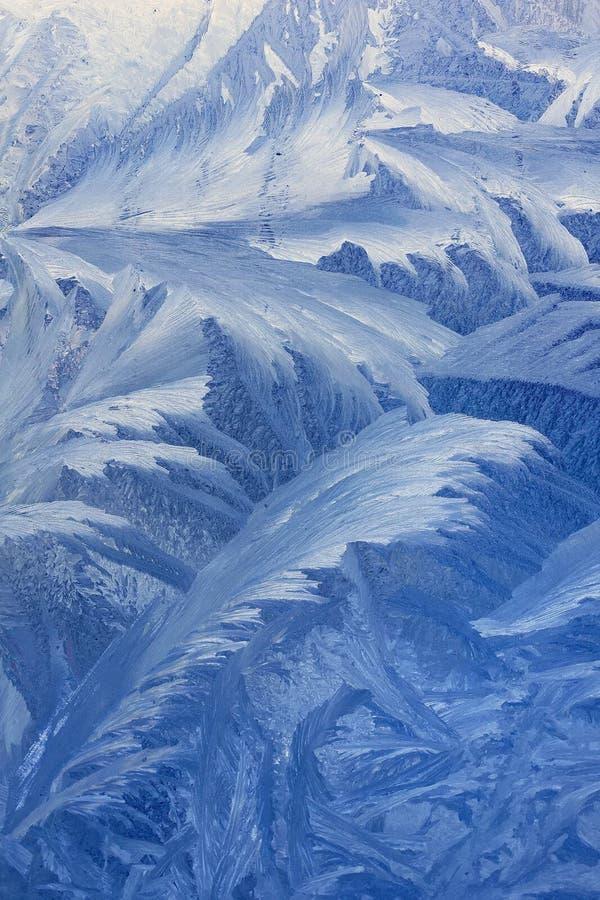 Frosty pattern on window stock photo