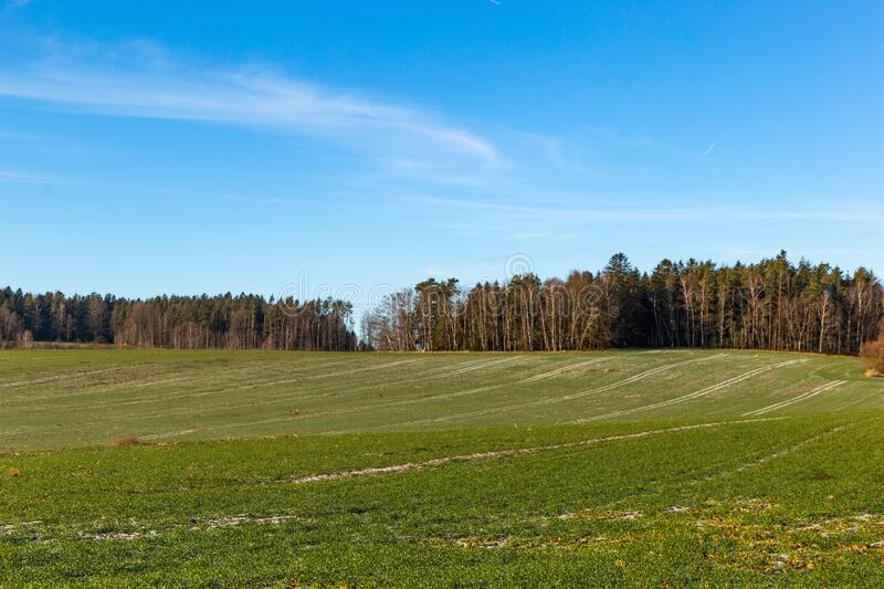 Frosty rural morning. Snowless winter in Czech countryside.  royalty free stock image