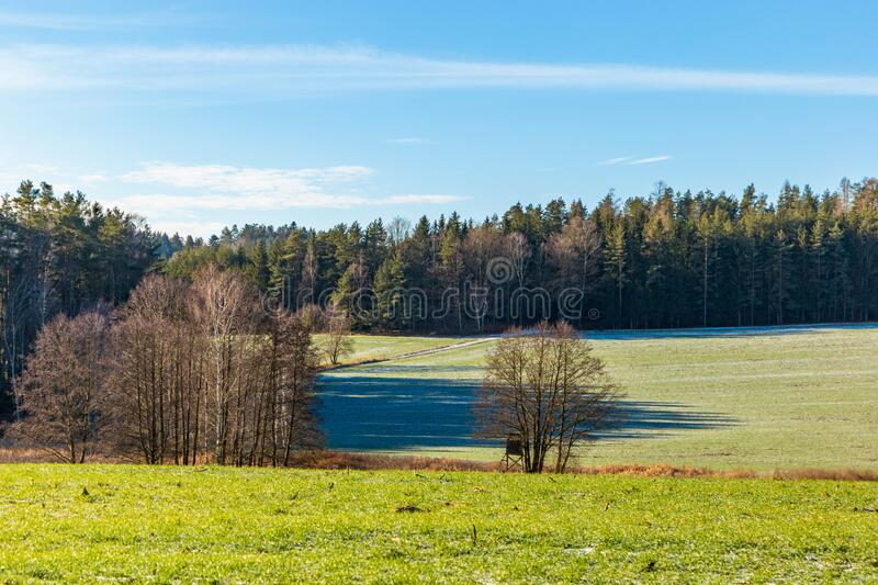Frosty rural morning. Snowless winter in Czech countryside.  stock photography