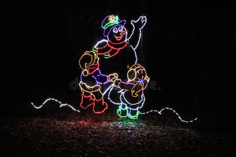 Frosty the Snow Man at Callaway Gardens. `Frosty the Snow Man at Callaway Gardens` is a photo taken at Callaway Gardens Fantasy in Lights 2019, near Pine stock photo