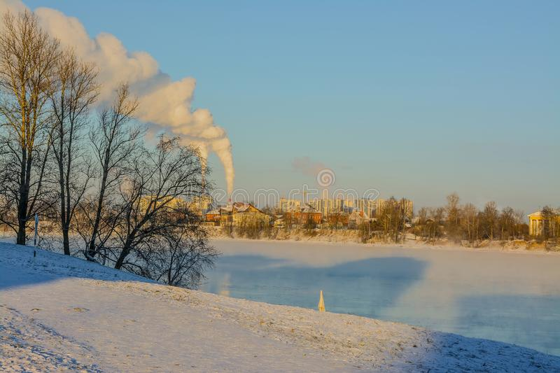Frosty Sunny January day on the banks of the Neva river royalty free stock images