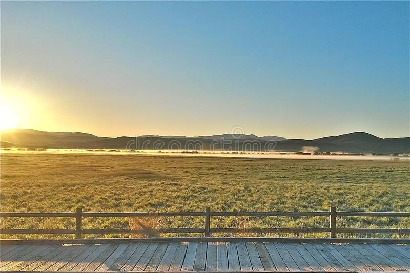A Frosty Sunrise. The sun begins to rise, and glows across the frosty meadow. The wooden boardwalk in the foreground is slippery, now, but will be just fine to stock images