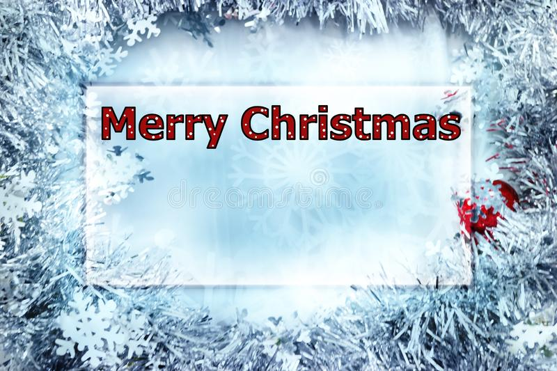 "Christmas greeting card with the words Merry Christmas in polka dot letters, red and white. Frosty winter/Christmas card with the words ""Merry Christmas royalty free stock image"