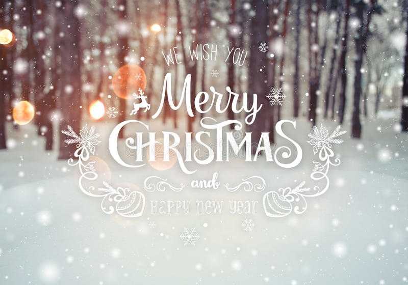 Frosty winter landscape in snowy forest. Christmas background with fir trees and blurred background of winter with text. Merry Christmas and Happy New Year stock photos