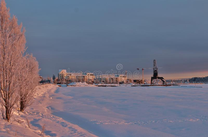 A frosty winterday in Luleå. A frosty and chilly but enchanting beautiful december day in Lule royalty free stock image