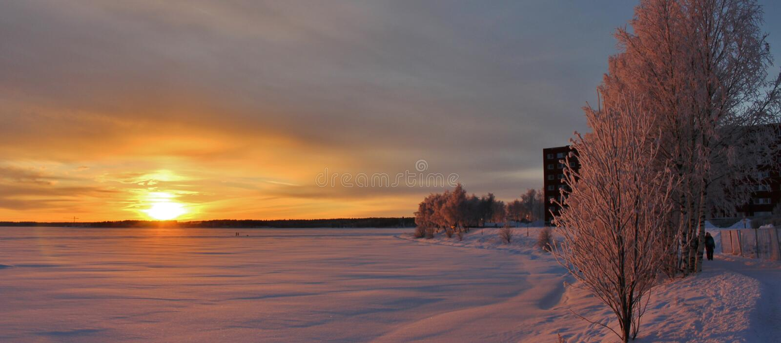 A frosty winterday in Luleå. A frosty and chilly but enchanting beautiful december day in Lule stock photos