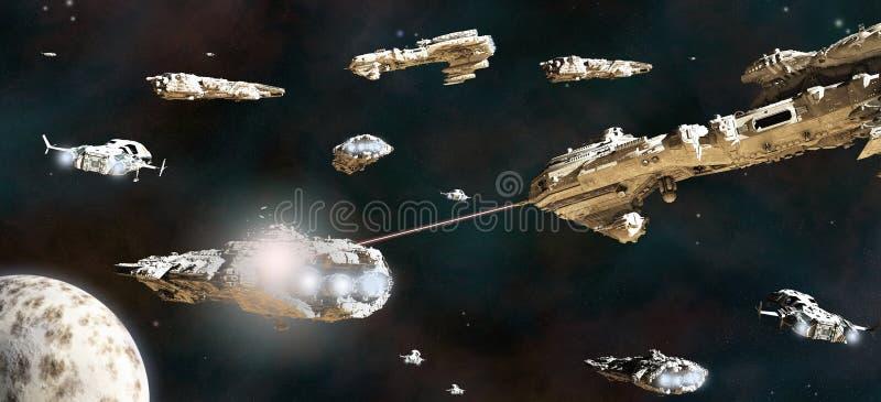 Frota da batalha na ação ilustração do vetor