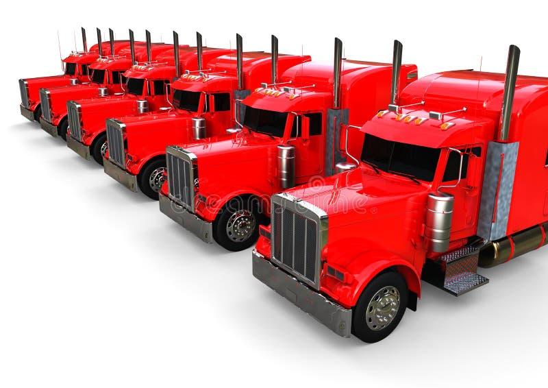 Frota de caminhões americana ilustração do vetor