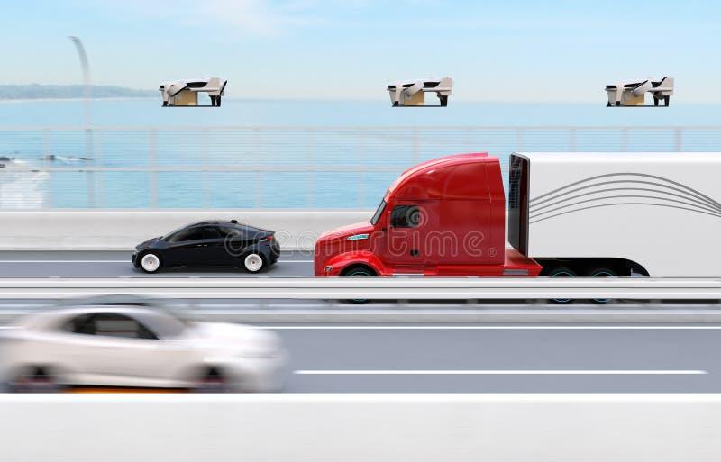 Frota de caminhões americanos, zangões da carga ilustração stock