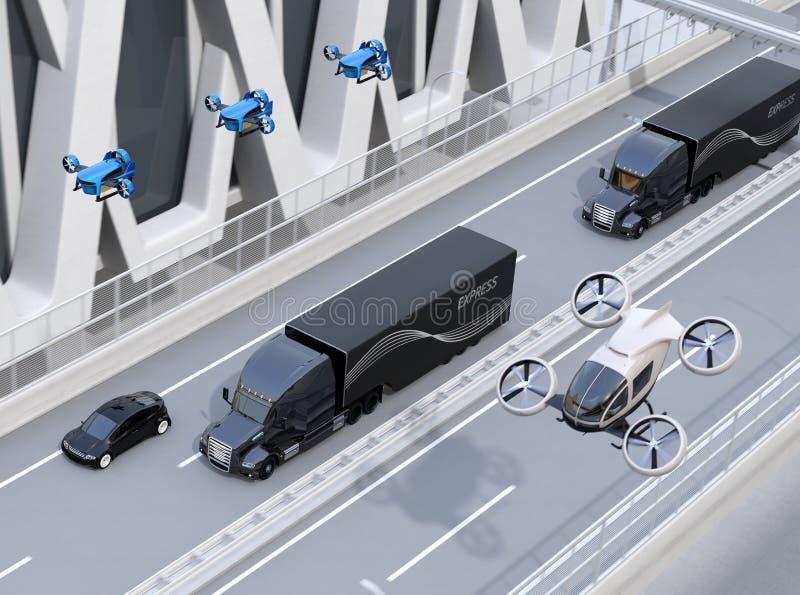 Frota de caminhões, de zangões da carga e do carro americanos do voo ilustração stock