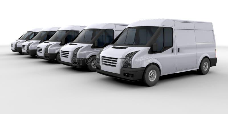 Frota de camionetes de entrega ilustração royalty free