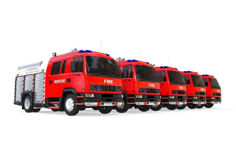 Frota de carros de bombeiros da emergência ilustração do vetor
