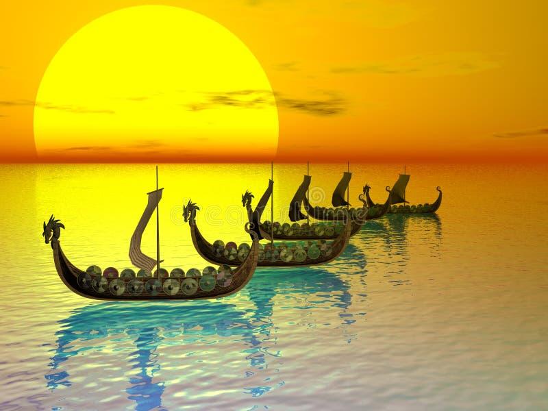 Frota de Drakker ilustração do vetor