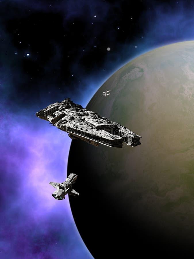 Frota de naves espaciais interplanetárias na órbita ilustração do vetor