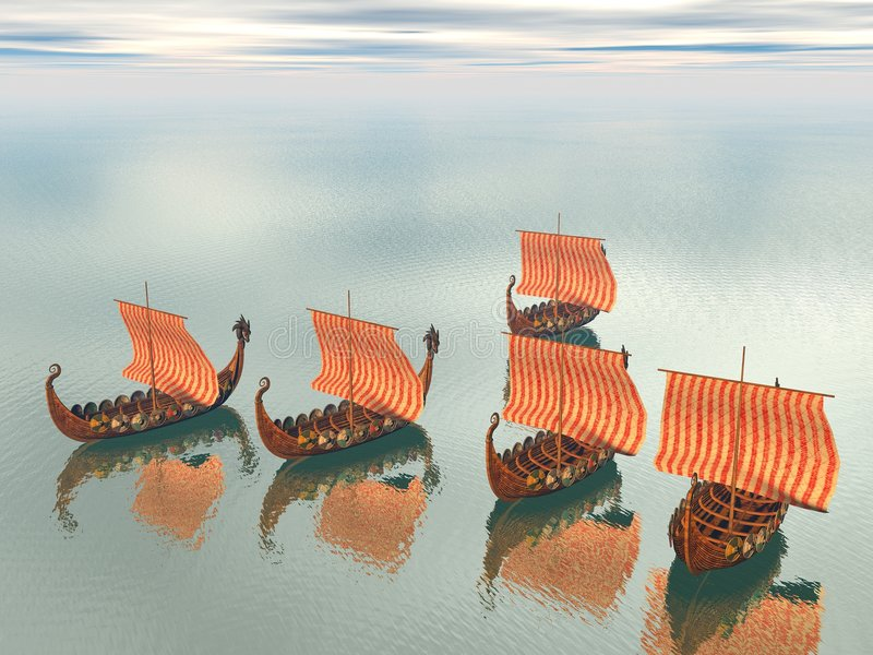 Frota de Viquingue dos navios ilustração royalty free