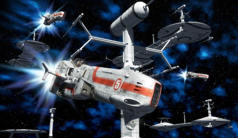 Frota do espaço ilustração royalty free