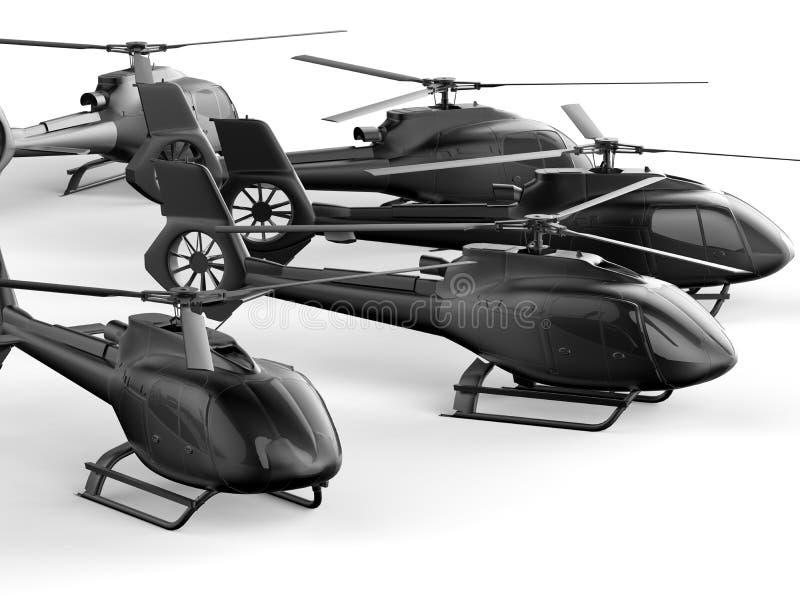 Frota do helicóptero ilustração stock