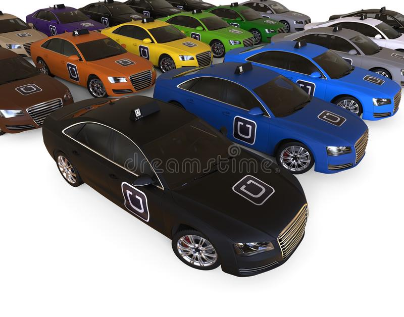 Frota do táxi de Uber ilustração stock