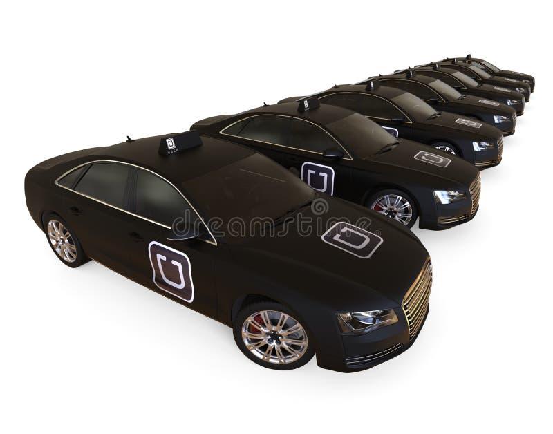 Frota do táxi de Uber em seguido ilustração stock