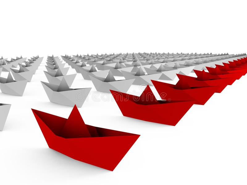 Frota dos barcos de papel - uma imagem 3d ilustração royalty free