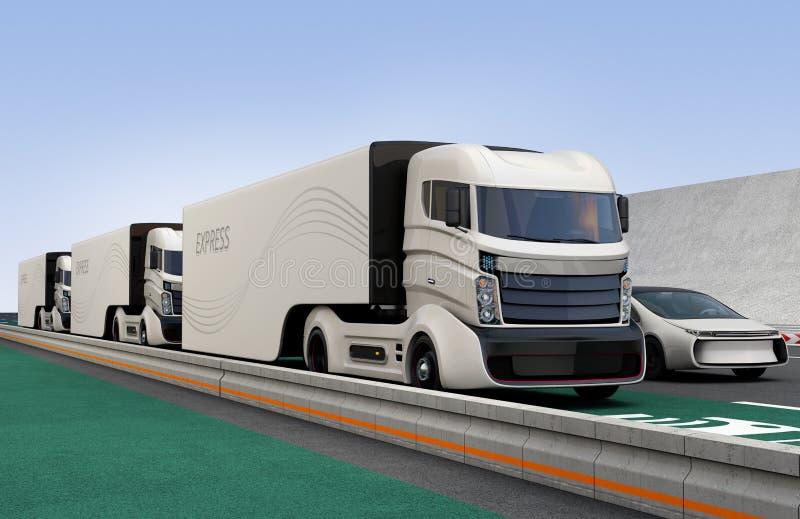 Frota dos caminhões híbridos autônomos que conduzem na pista de carregamento sem fio ilustração stock