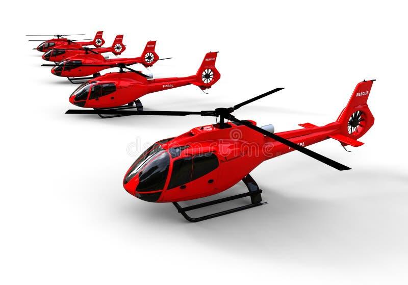 Frota dos helicópteros do salvador estacionada em seguido ilustração royalty free