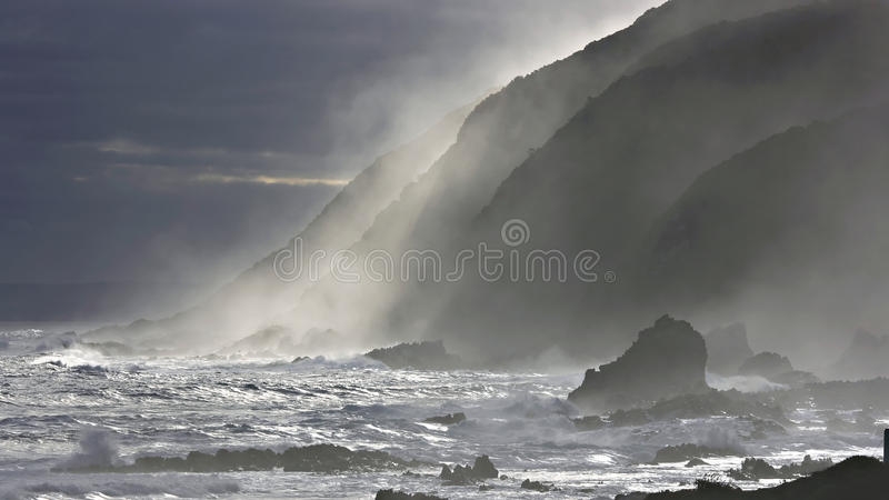 Froth at Storms River Mouth. Tsitsikamma, South Africa stock image