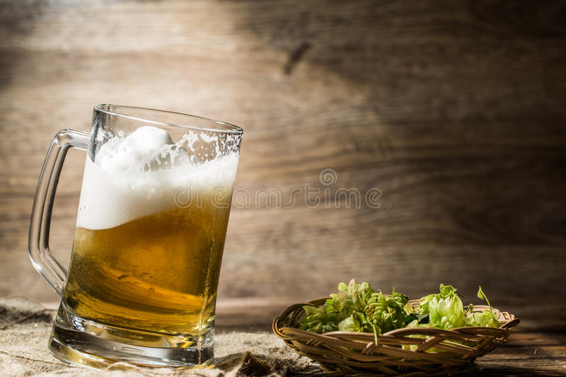 Frothy beer spills from tankard next to hop in basket stock photos