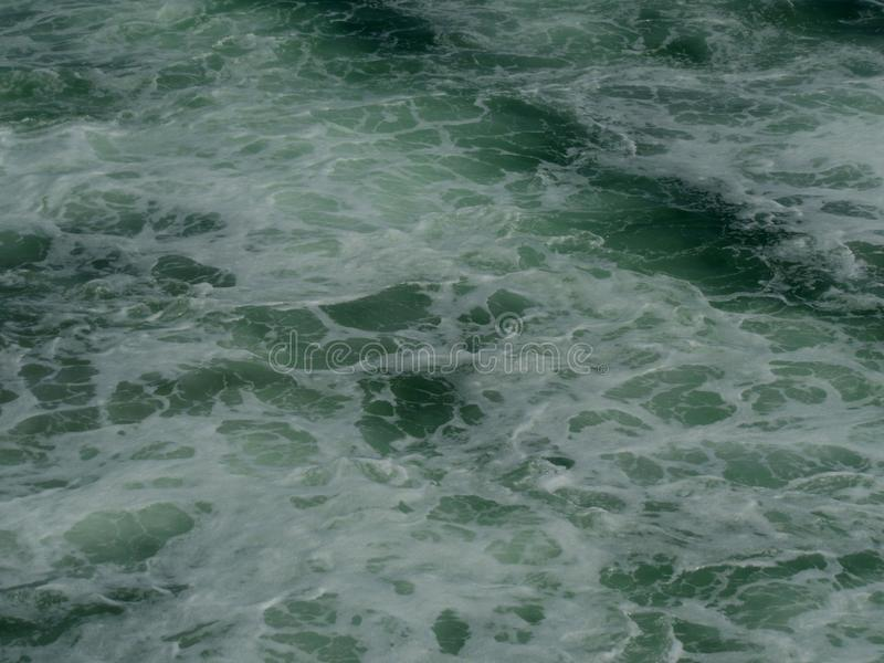 Frothy Green Sea Water. Large frothy green sea water from the Southern California Coast royalty free stock photo
