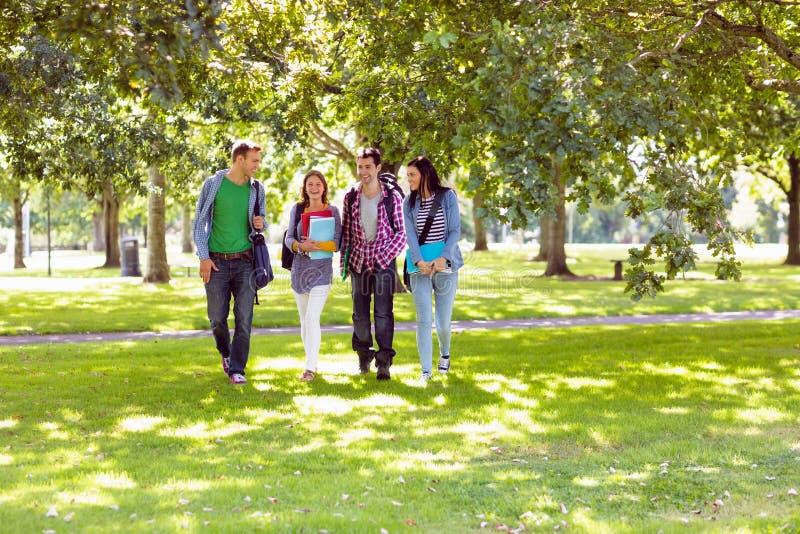 Froup des étudiants universitaires marchant en parc photos stock