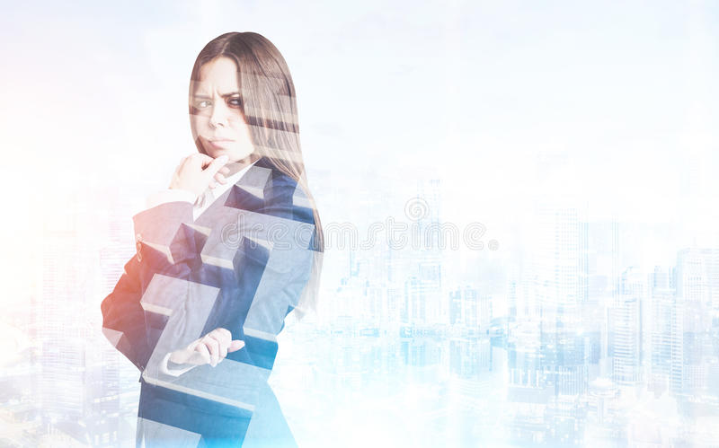 Download Frowning Businesswoman And A Maze In City Stock Image - Image: 83722201