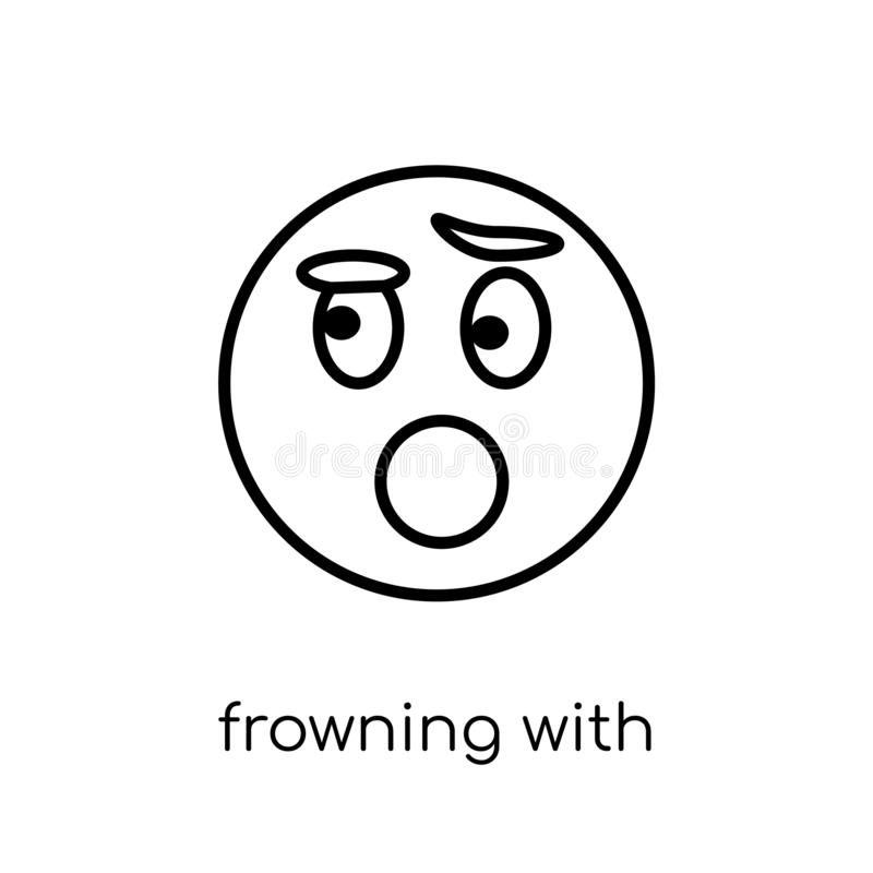 Frowning With Open Mouth emoji icon from Emoji collection. Frowning with open mouth emoji icon. Trendy modern flat linear vector frowning with open mouth emoji royalty free illustration