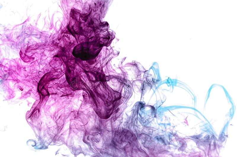 Frozen abstract movement of  explosion smoke multiple blue and pink colors stock image