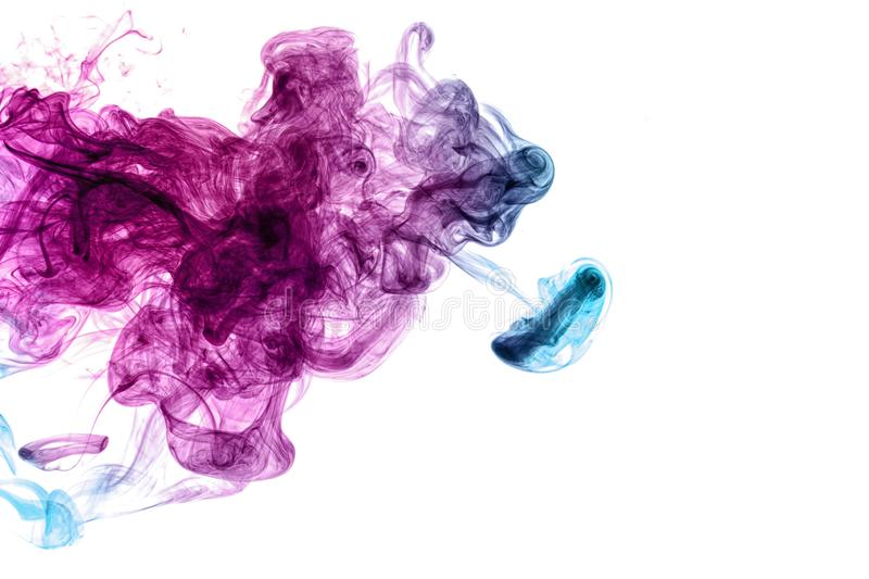 Frozen abstract movement of  explosion smoke multiple blue and pink colors. On white background. Background from the smoke of vape royalty free stock images