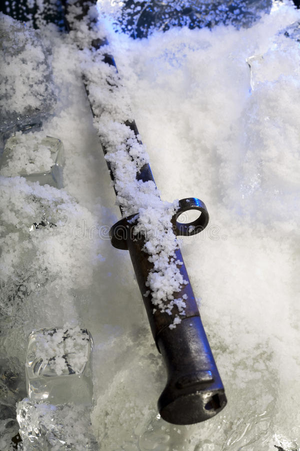 Frozen bayonet. In memory of great battles of past stock image