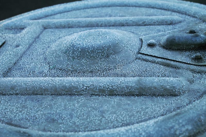 The frozen bin cover. A view of a frozen bin cover stock photography