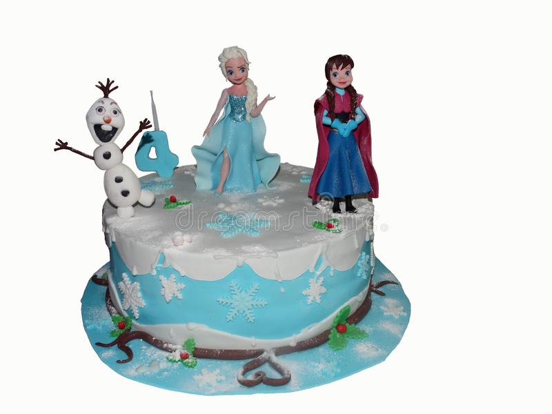 Frozen birthday cake royalty free stock photography