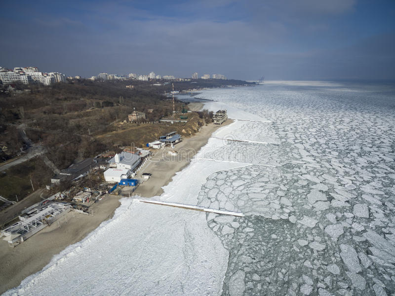 The Frozen Black Sea in Odessa Feb 2017 royalty free stock photography