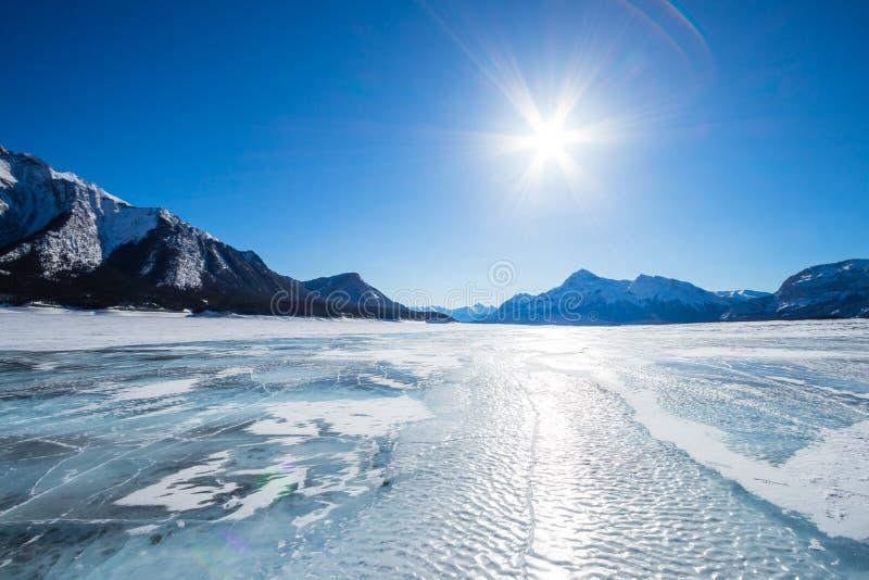 Winter Lake Minnewanka, Abraham, Methane bubbles,lifestyle, Travel Alberta, Canadian Rockies,Banff National Park,Icefiled Parkways. Frozen canadian lakes can royalty free stock images