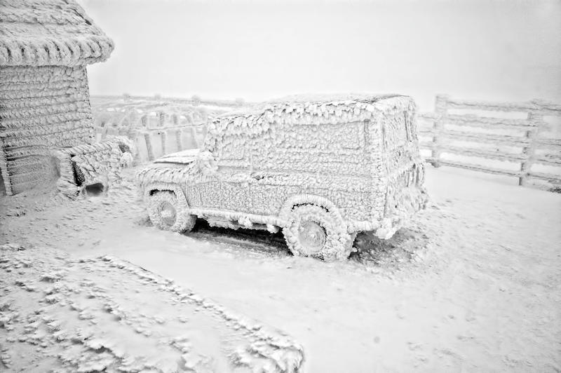 Frozen car at winter stock photos