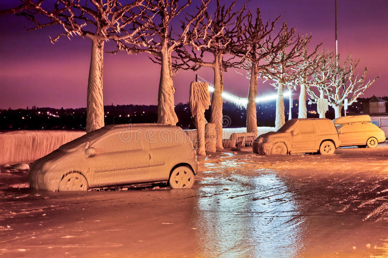 Frozen Cars. Covered in ice at Lake Geneva, Switzerland waterfront in the town of Versoix, during the 2012 cold snap experienced in Europe. Picture was taken at stock photography