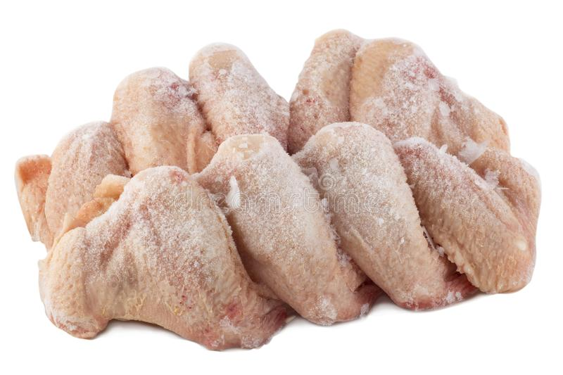 Frozen chicken wings. White background, isolated stock photography