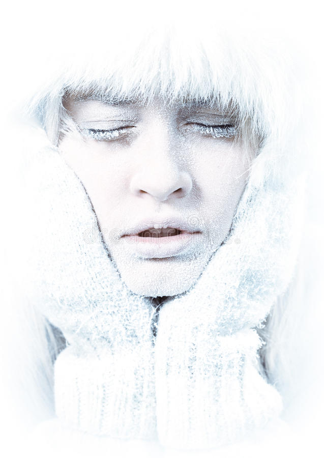Free Frozen. Chilled Female Face Covered In Ice. Stock Image - 19771401