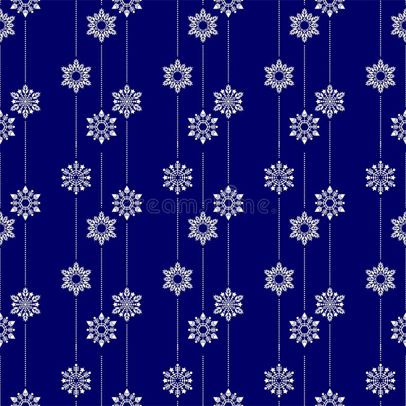 Frozen crystal Snowflake basic vertical line seamless pattern texture background in white and blue or Porcelain tone stock illustration
