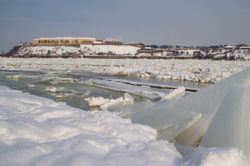 Frozen Danube river and Petrovaradin fortress in Novi Sad. Serbia royalty free stock image