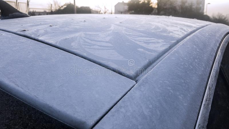 Frozen dew on car roof in the morning.. royalty free stock photos