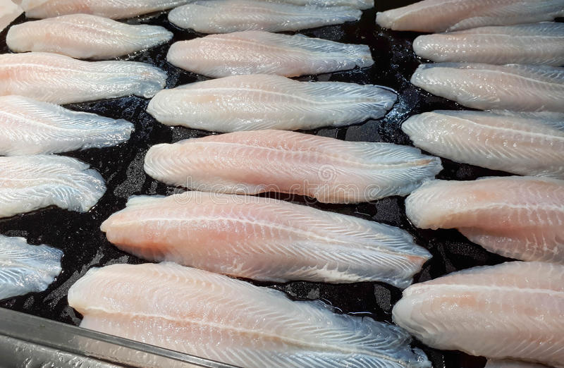 Frozen Dory Fish Fillets. Pangasius stock photos