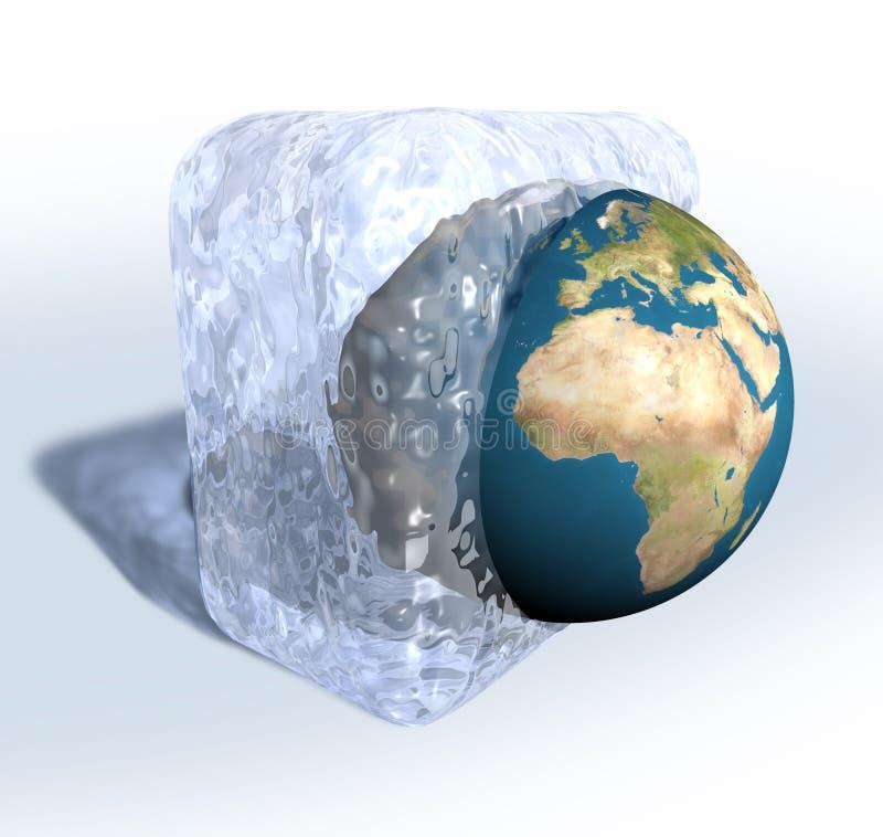 Frozen Earth. 3D render of Earth frozen in ice cube vector illustration