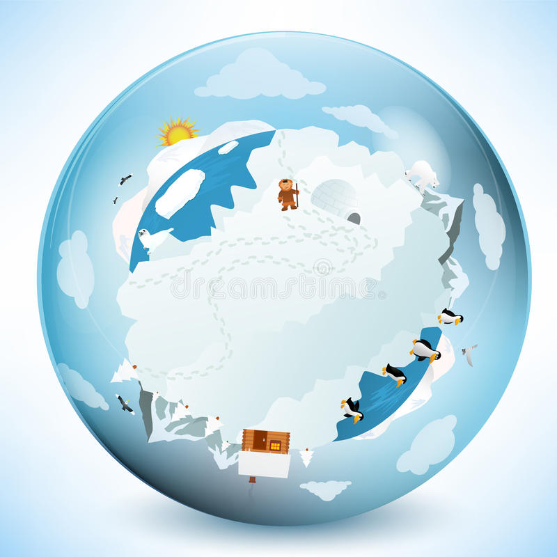 Frozen earth in the glass sphere royalty free illustration