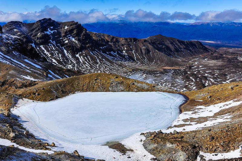 Frozen Emerald Lakes in the Tongariro National Park, New Zealand. Frozen Emerald Lakes in the winter Tongariro Alpine Crossing, New Zealand stock image
